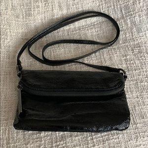 HOBO black patent leather crossbody